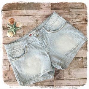 Levi's Shorty Short White/Blue Stripe Shorts sz. 9